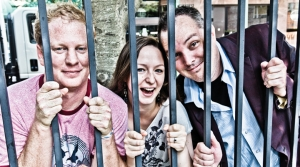 Alba Woolard goofs off with Brad McMurran (left) and Sean Devereaux of The Pushers.